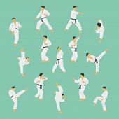 image of karate  - Group of the men showing karate - JPG