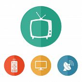 stock photo of household  - Vector household tv related icons on colored buttons - JPG