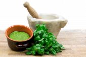 picture of pestle  - pesto sauce with basil - JPG