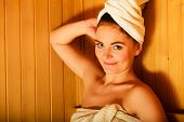 stock photo of sauna woman  - Spa beauty treatment and relaxation concept - JPG