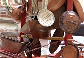 picture of flea  - many copper objects for kitchen and home for sale in the antiques stall at flea market - JPG
