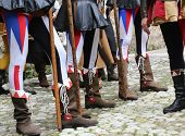 image of ceremonial clothing  - medieval reenactment with costumed characters and ancient clothes - JPG