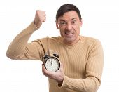 pic of yell  - Yelling man with alarm clock in his hand - JPG
