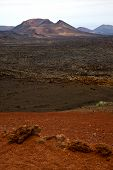 picture of volcanic  - volcanic timanfaya red rock stone sky hill and summer in los volcanes lanzarote spain plant flower bush - JPG