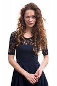 stock photo of confusing  - confused woman with curly hair isolated on white background - JPG