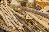 stock photo of handicrafts  - image of thailand bamboo toys handicraft  - JPG