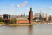 stock photo of city hall  - Stockholm skyline with City Hall - JPG