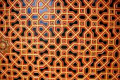 foto of intersection  - Interesting and colorful window pattern created by intersecting hexagons at Junagarh Fort in Bikaner Rajasthan India Asia - JPG