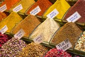 foto of arabian  - Colorful spices on the traditional arabian souk  - JPG