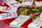 stock photo of marriage decoration  - Close up The dowry marriage in Thai culture - JPG