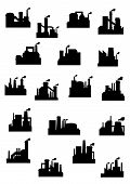 foto of belching  - Industrial factories and refineries icon set with black silhouettes of installations with chimneys belching polluting smoke - JPG