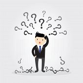 stock photo of punctuation marks  - Businessman with question marks above his head - JPG