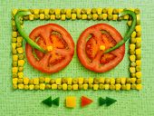 picture of corn  - background of peas and corn laid by hand - JPG