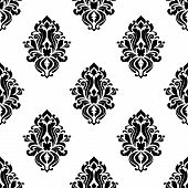pic of damask  - Decorative damask floral seamless pattern with dainty black flowers in retro style for wallpaper or another interior design - JPG