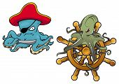 picture of octopus  - Two fun cartoon octopus with the first dressed as an evil pirate with eye patch and the second entwined around a helm - JPG