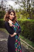 picture of ombre  - Retro style photo of fashion woman wearing elegant dress with printed floral pattern - JPG