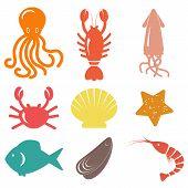 stock photo of sea life  - Seafood icons - JPG
