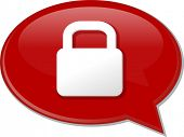 picture of lock  - Word speech bubble illustration of discussion forum blog locked secure lock - JPG