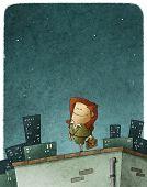 stock photo of entrepreneur  - illustration of an entrepreneur heroine in the top of roof - JPG