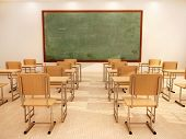 stock photo of classroom  - 3D Illustration Of Bright Empty Classroom With Desks And Chairs - JPG