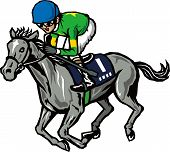 picture of dash  - Racehorse and jockey to dash fluttering mane - JPG