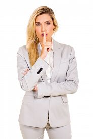 foto of shhh  - beautiful businesswoman saying shhh isolated on white background - JPG