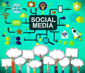 stock photo of social system  - Social Media Social Networking Technology Connection Concept - JPG
