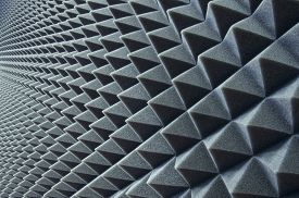 stock photo of studio  - Close up of sound proof coverage in music studio - JPG
