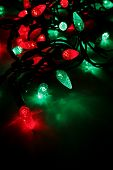 image of christmas lights  - a bunch of red and green led christmas lights - JPG