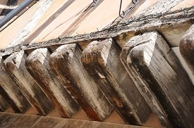 picture of timber  - Timber beams on an old timber framed buildings along Spon Street Coventry West Midlands England UK Western Europe. ** Note: Shallow depth of field - JPG