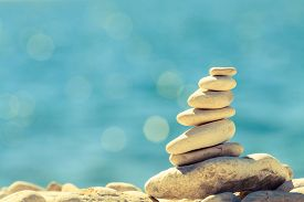 picture of stability  - Stones balance at the vintage beach inspirational summer landscape - JPG